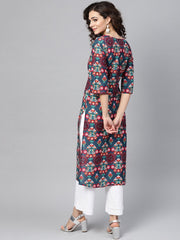 Turquoise Multi-colored Staright kurta with round Neck V slit & 3/4 sleeves