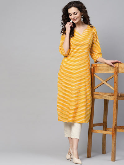 Yellow printed Straight kurta with Round neck V slit & 3/4 sleeves