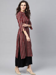 Multi Colored Straight Kurta with Mandarin collar & 3/4 sleeves