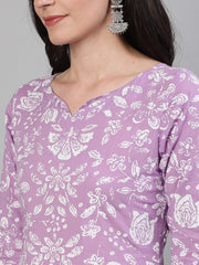 Women Lavender Calf Length Three-Quarter Sleeves Straight Floral Printed Cotton Kurta With Face Mask