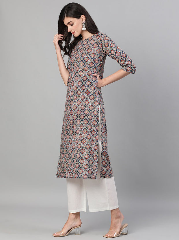 Women Blue Calf Length Three-Quarter Sleeves Straight Ethnic Motif Printed Cotton Kurta with pockets
