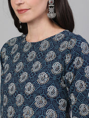 Women Blue Calf Length Three-Quarter Sleeves Straight Bandhani Printed Cotton Kurta with pockets And Face Mask