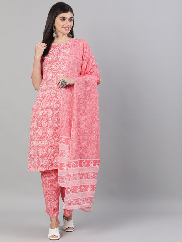 Women Pink Three-Quarter Sleeves Ethnic Motif Printed Straight Kurta-Palazzo with pockets and Dupatta