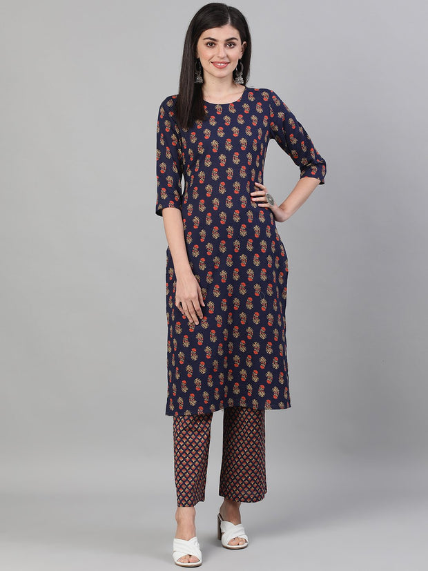 Women Blue Three-Quarter Sleeves Floral Printed Kurta and Palazzo with pockets