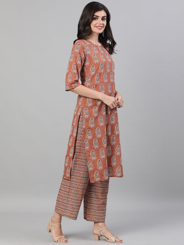 Women Rose Gold Three-Quarter Sleeves Printed Kurta-Palazzo with pockets Dupatta and Face Mask