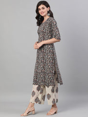Women Black and White Three-Quarter Sleeves Printed Kurta-Palazzo with pockets Dupatta and Face Mask