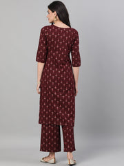 Women Wine Three-Quarter Sleeves Printed Kurta-Palazzo with pockets and Face Mask