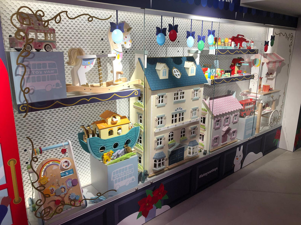 harrods christmas window display pop up wooden toys