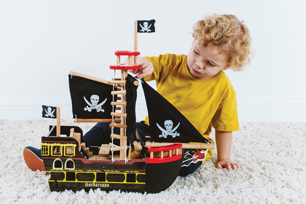 pirate ship traditional wooden toy