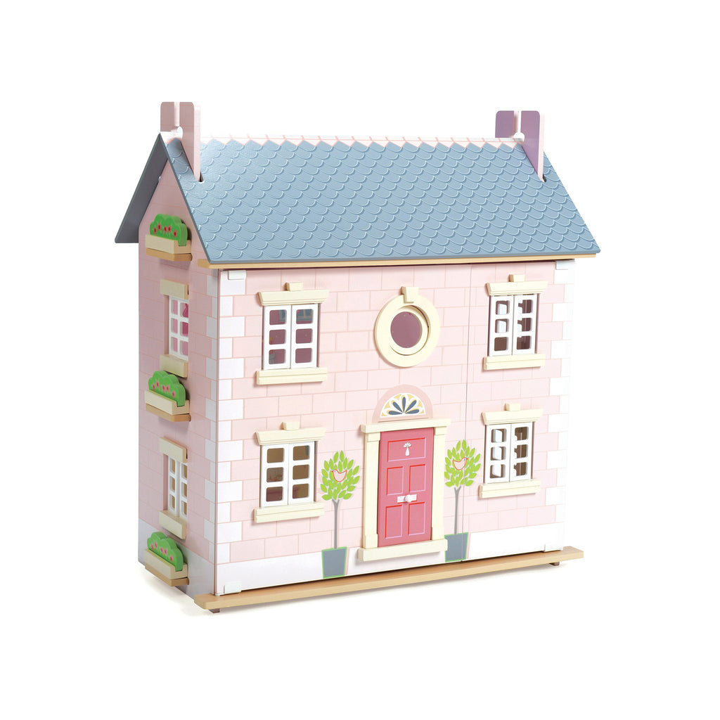 Wooden pink and grey dolls house with staircases, opening windows, roof, door