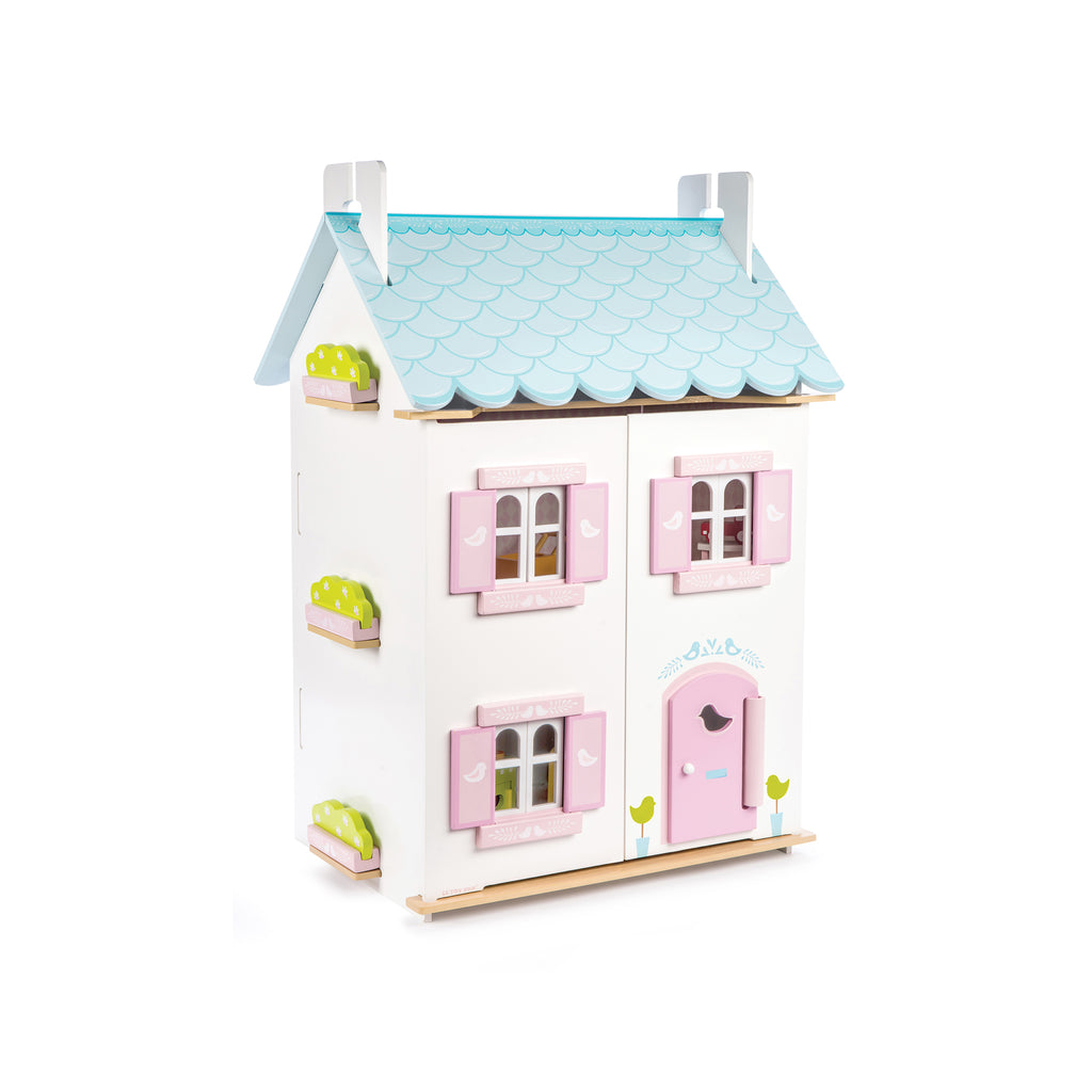 Blue and pink eco-friendly wooden dolls house with furniture for boys and girls