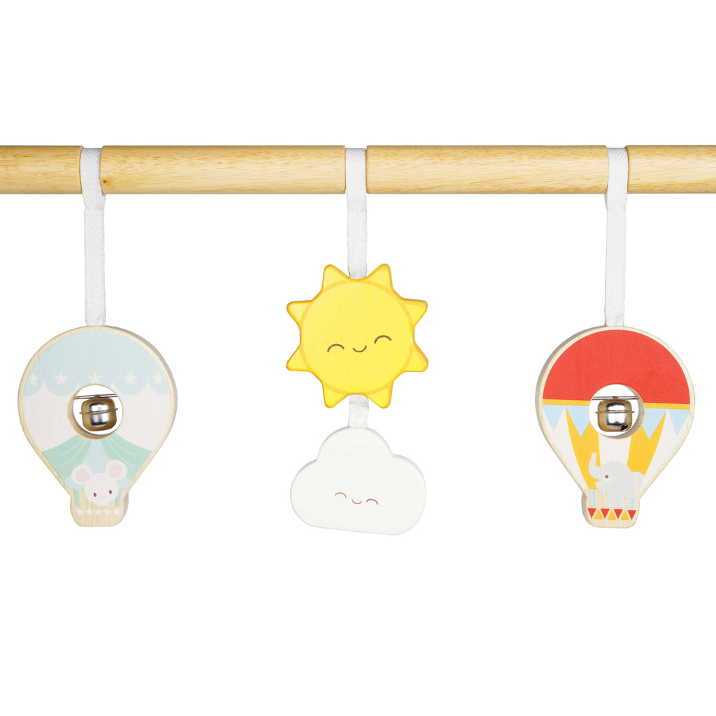 Baby gym rainbow cloud hot air balloon theme made of solid sustainable wood