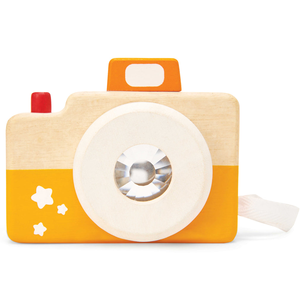 Wooden toy camera yellow and orange