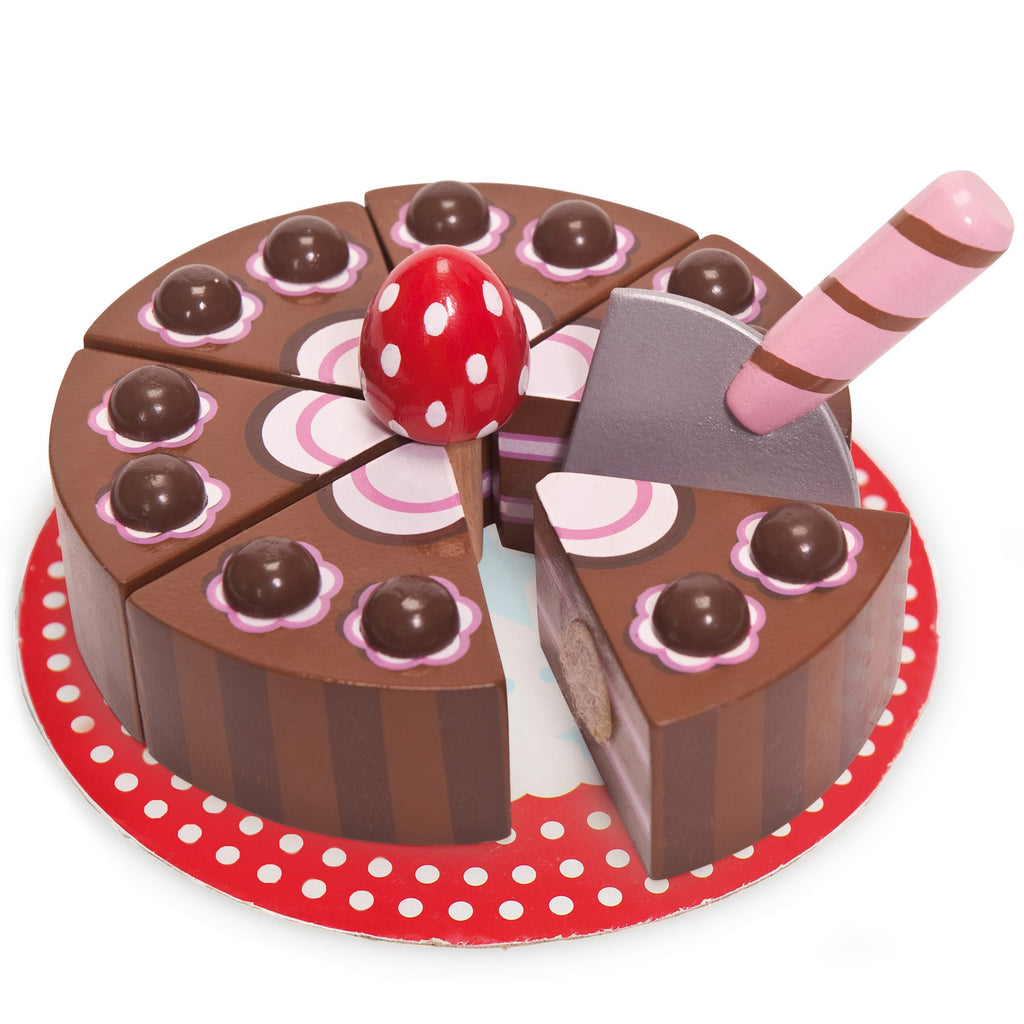 wooden cake chocolate gateau role play toy