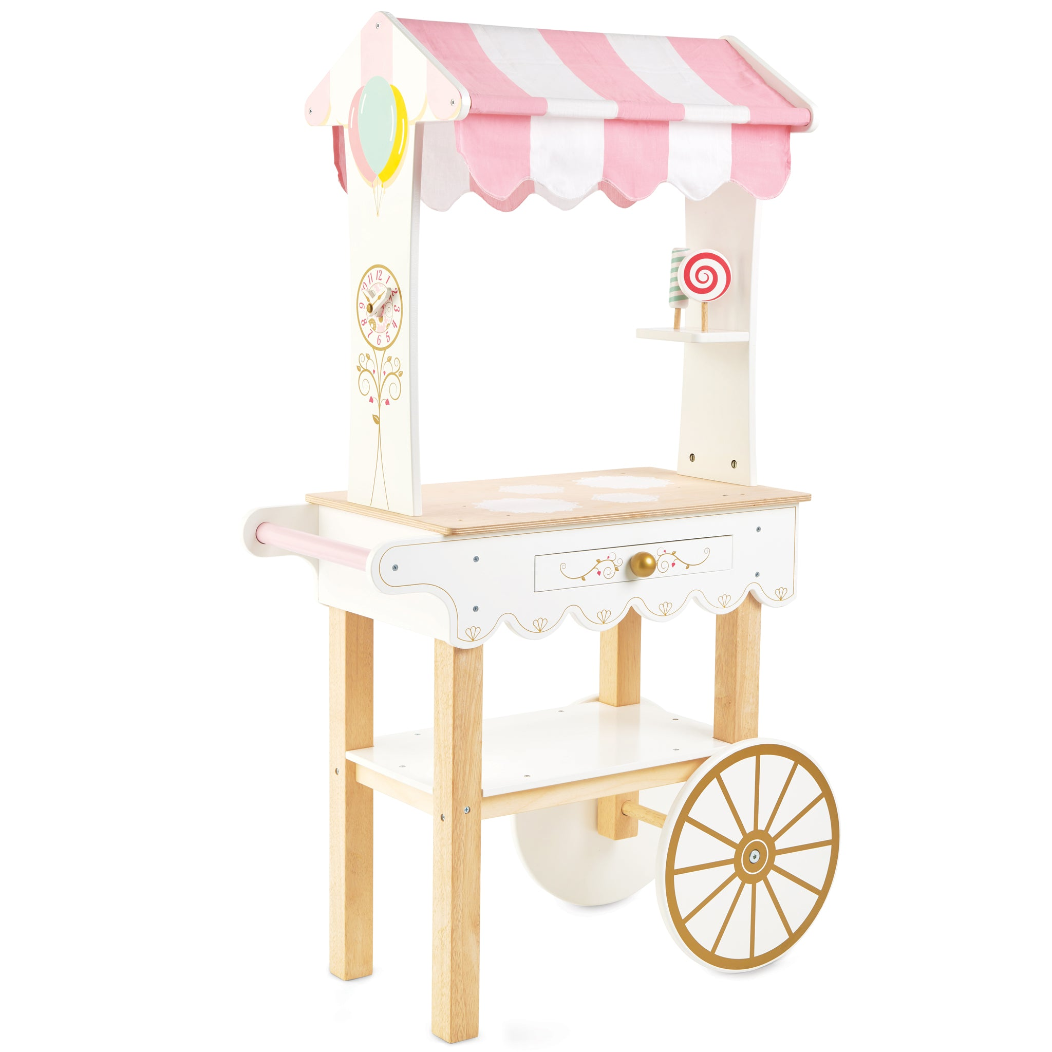 wooden Pink Shopping Trolley for Kids