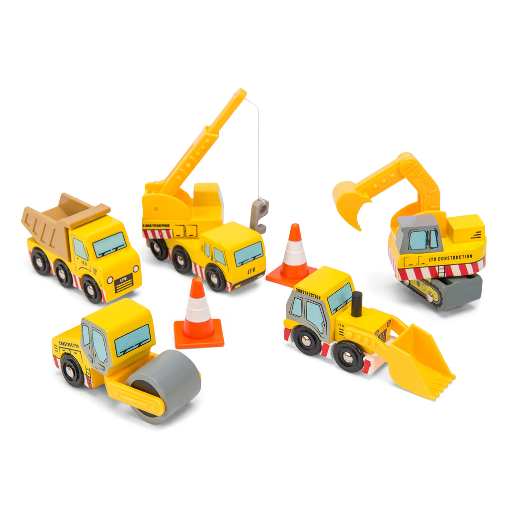 construction cars vehicles wooden toy