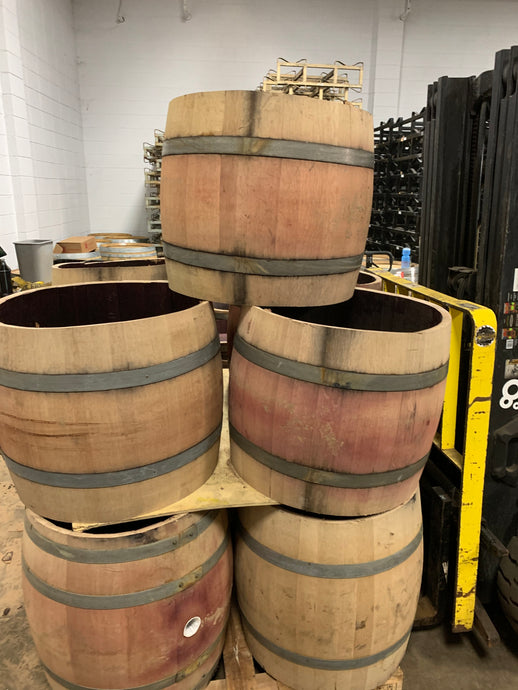 SALE 59g Red Wine Barrel Cylinders. 25-26 in tall 27in dia & 70 lbs