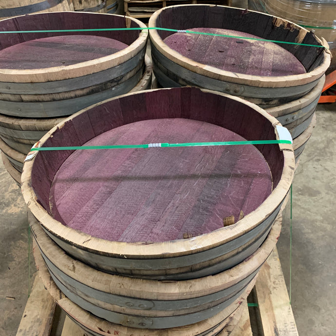 Sale 59g cut red Wine Barrel heads. Approx 6in tall & 35 lbs with 2 bands.