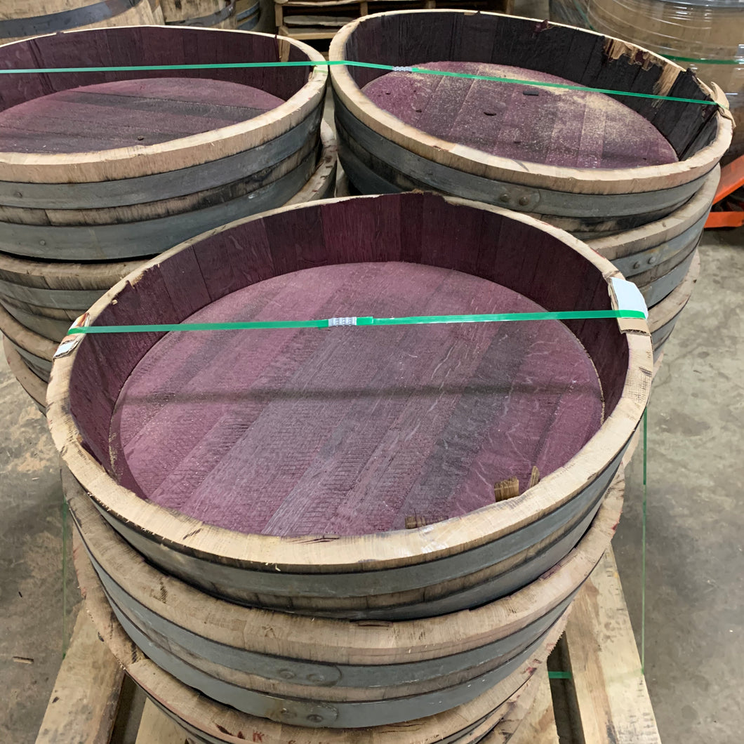 Sale 59g cut red Wine Barrel heads. Approx 7in tall & 35 lbs with 2 bands.