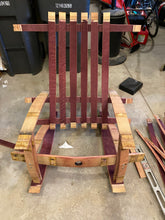 Load image into Gallery viewer, Sale~ Wine Barrel Adirondack Rocking Chair w/ spar varnish finishing. Buy the wine barrel for $95 & built it with our help!