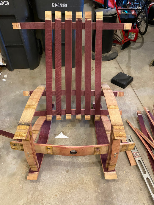 Sale~ Wine Barrel Adirondack Rocking Chair w/ spar varnish finishing. Buy the wine barrel for $95 & built it with our help!