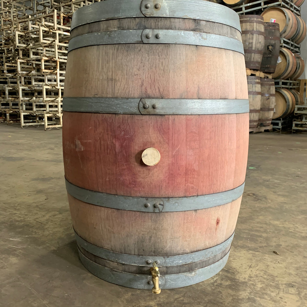 60g Rain Wine Barrel w/threaded brass spigot & Teflon tape. Made with Napa Valley Cabernet wine barrel! Be the envy of your neighborhood!