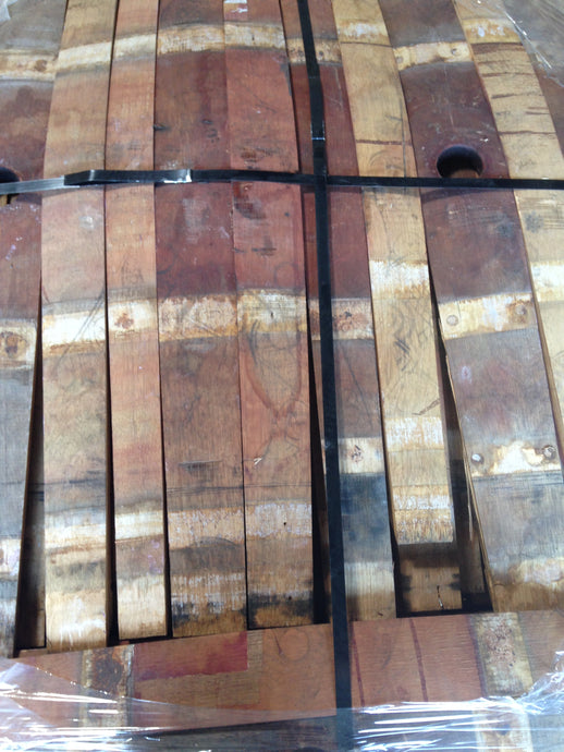 SALE 59g French Oak Red Wine Barrel Staves. Beautiful red wine petina stains on the inside, clean oak on the outside