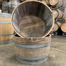 Load image into Gallery viewer, 59g 1/2 Wine Barrel (silver Oak Cellars Cab) Planter. Perfect for flowers, herbs, annuals & perennials