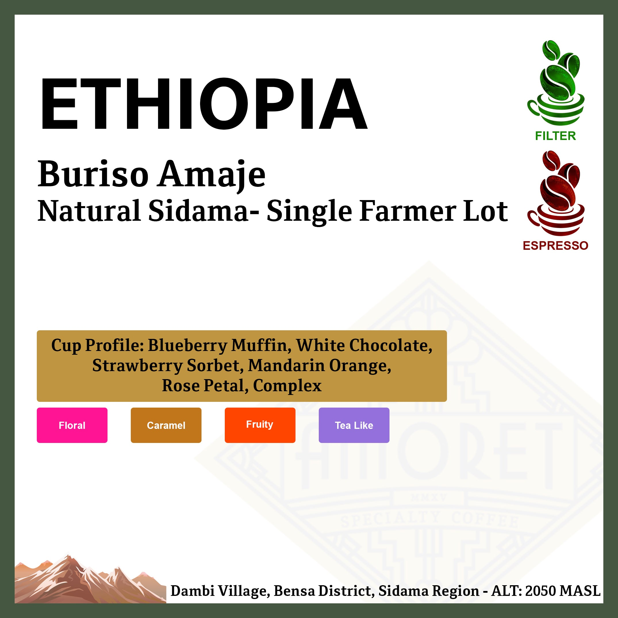 ETHIOPIA Buriso Amaje Natural Sidama - Single Farmer Lot