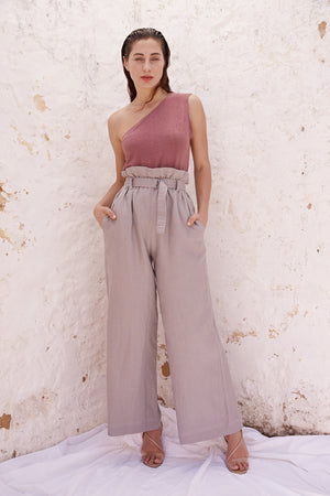 Rose One Shoulder Crop Sleeve Top