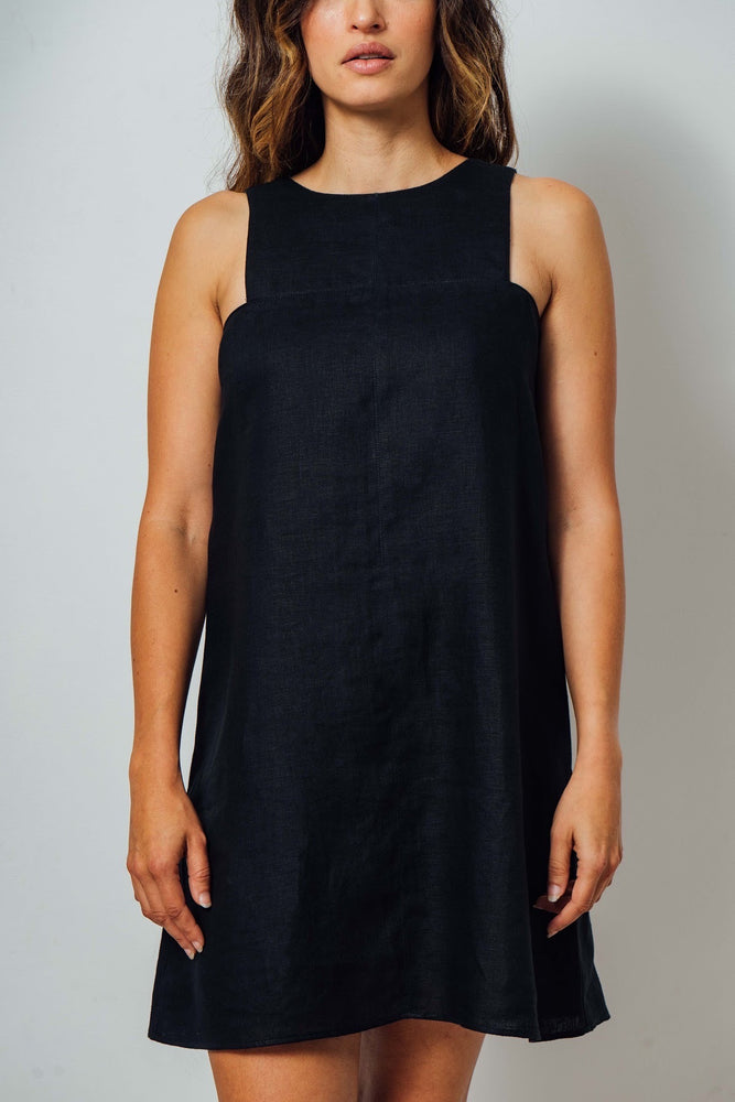 Load image into Gallery viewer, Nickie Black Linen Dress