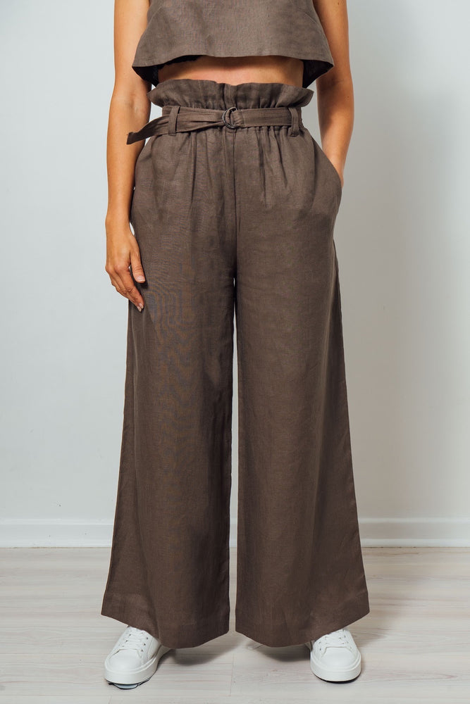 Load image into Gallery viewer, Monika Brown Linen Pant
