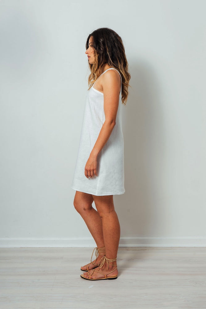 Load image into Gallery viewer, Nickie White Linen Dress