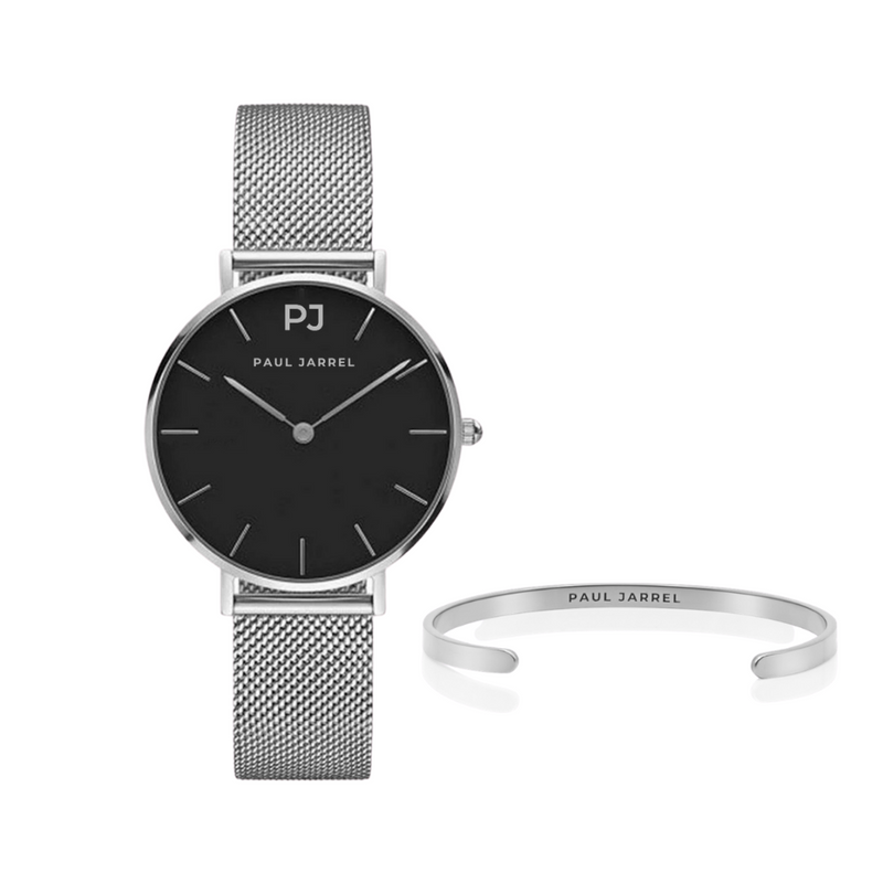 PACK LIMITED BLACK SILVER + SILVER BANGLE
