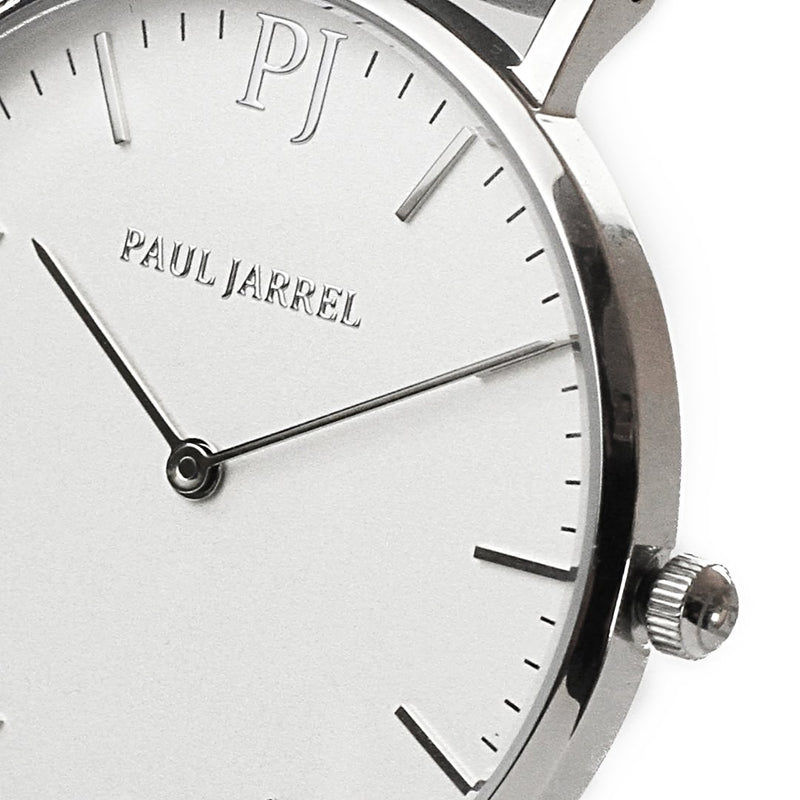 Paul Jarrel watch, Silver case watch, white dial watch for women