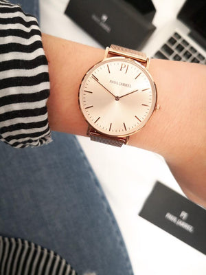 women mesh watch Rose gold mesh, Rose gold dial Paul Jarrel