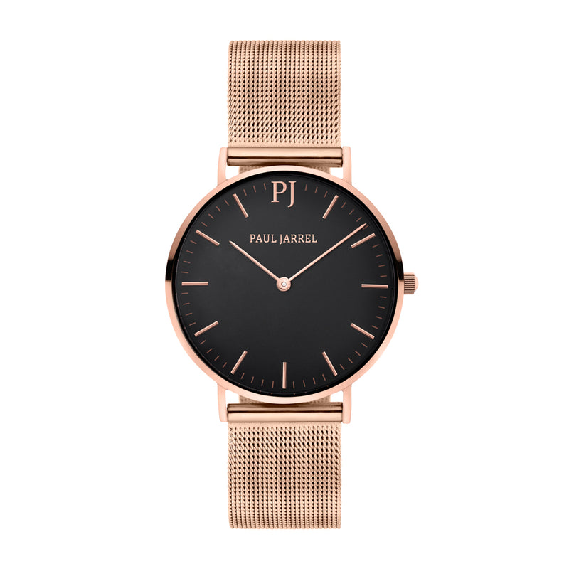 montre maille femme maille or rose, cadran noir Paul Jarrel