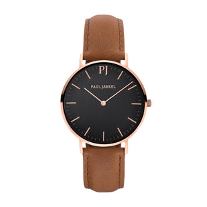 Brown leather watch minimalist for men and women Paul Jarrel