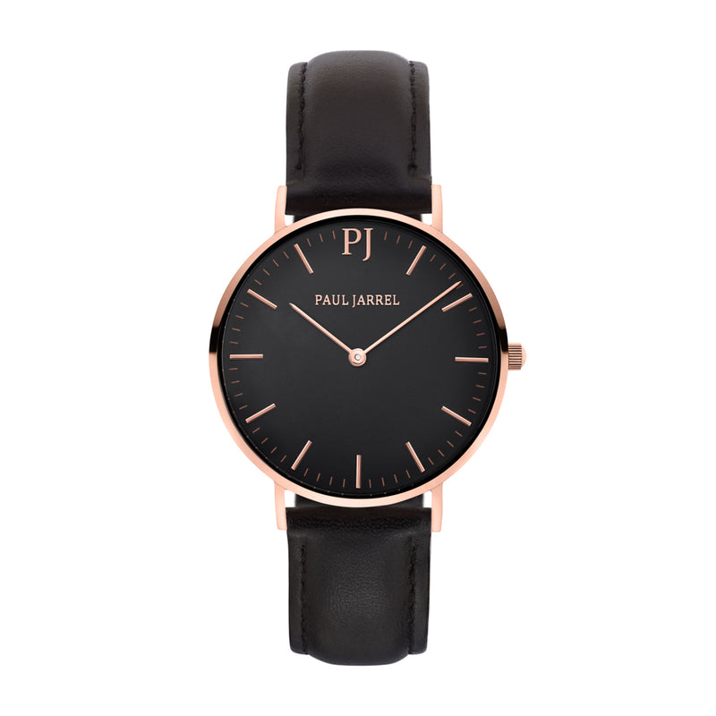 Classic black leather watch minimalist for men and women Paul Jarrel, relojes Paul, relojes hombre, relojes mujer, relojes unisex, relojes tendancia unisex, relojes cuero tendancia, montre tendance,