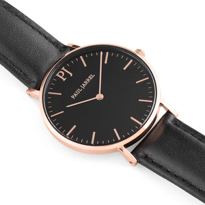 Classic black leather watch minimalist for men and women Paul Jarrel
