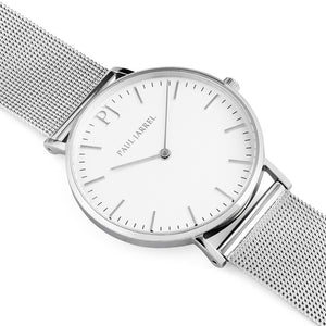 Mesh silver strap watch for men and women Paul Jarrel