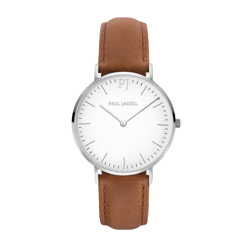 Classic brown leather watch for women and men Paul Jarrel