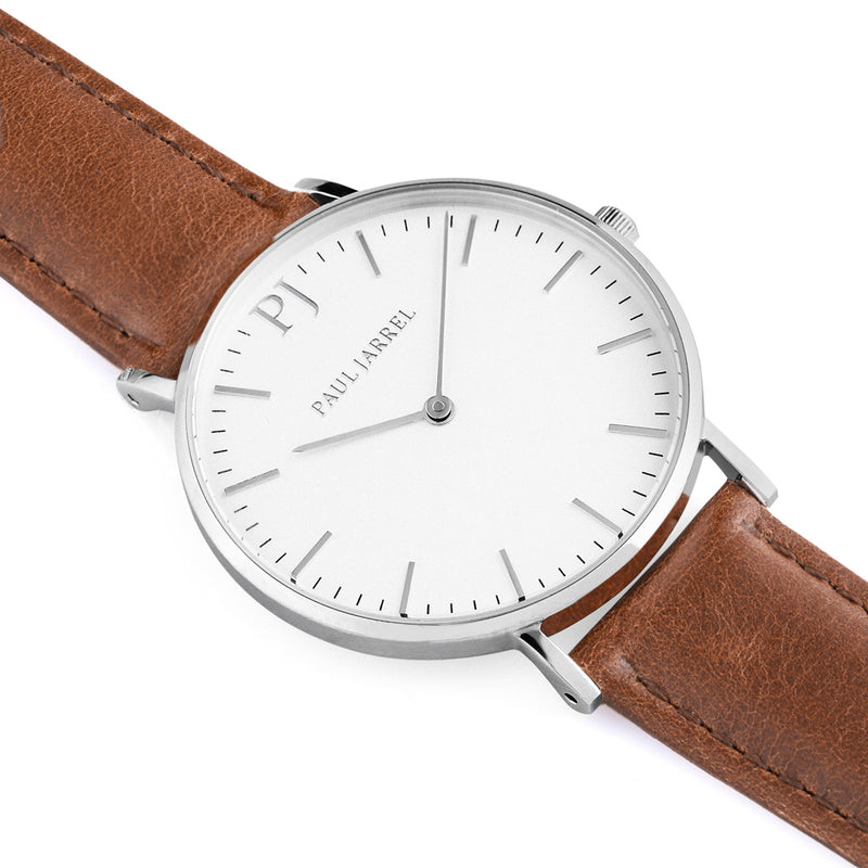 Classic brown leather watch minimalist for men and women Paul Jarrel