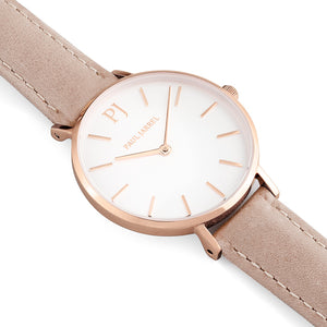 Women leather watch petite beige Paul Jarrel