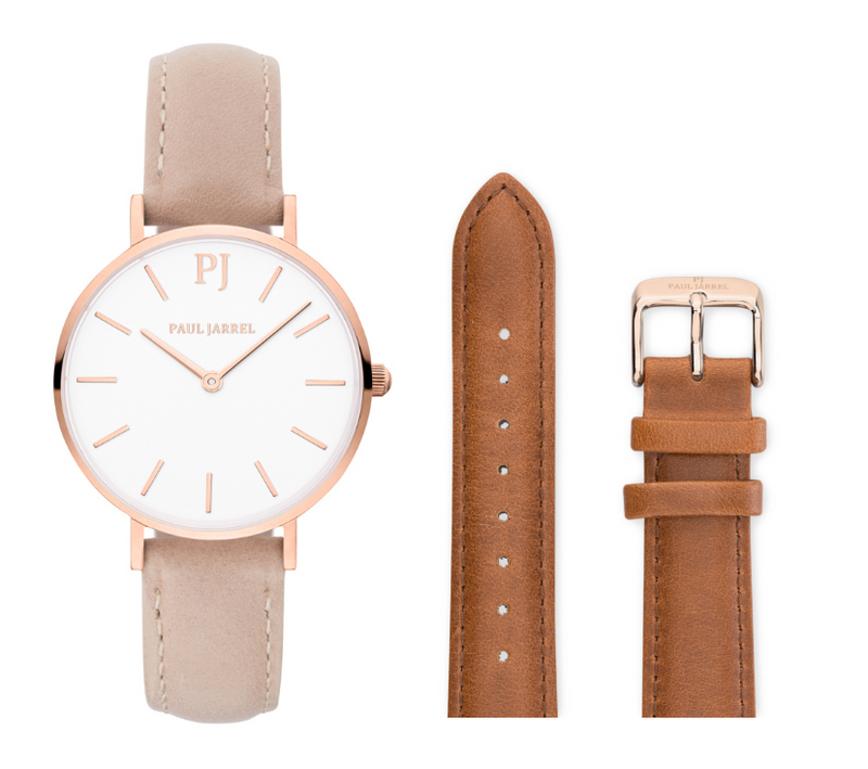 MENORCA BEIGE + BROWN STRAP