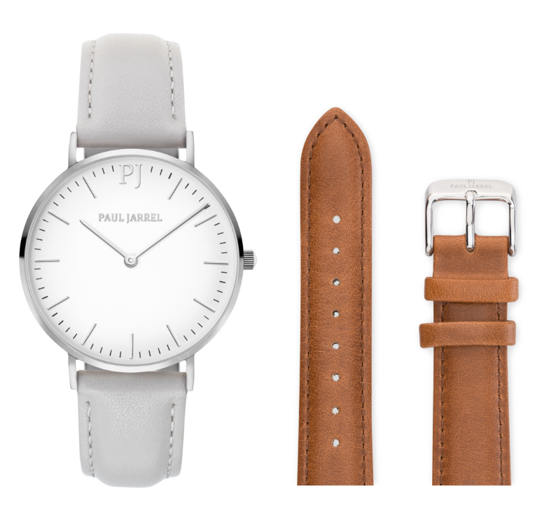 Classic Grey leather + brown leather strap
