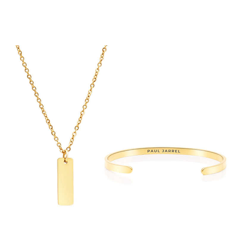PACK⎜GOLD BANGLE UND GOLD FLAT HALSKETTE