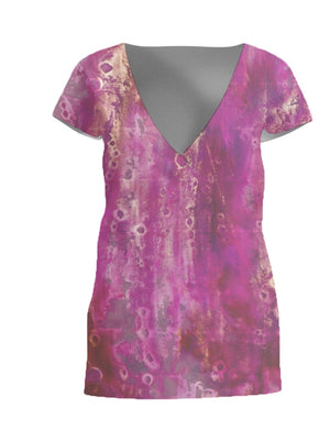 Gold and Magenta Bubbles Linen Front Wrap Blouse
