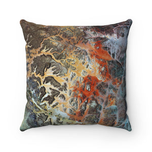 Mars to Earth Faux Suede Square Pillow