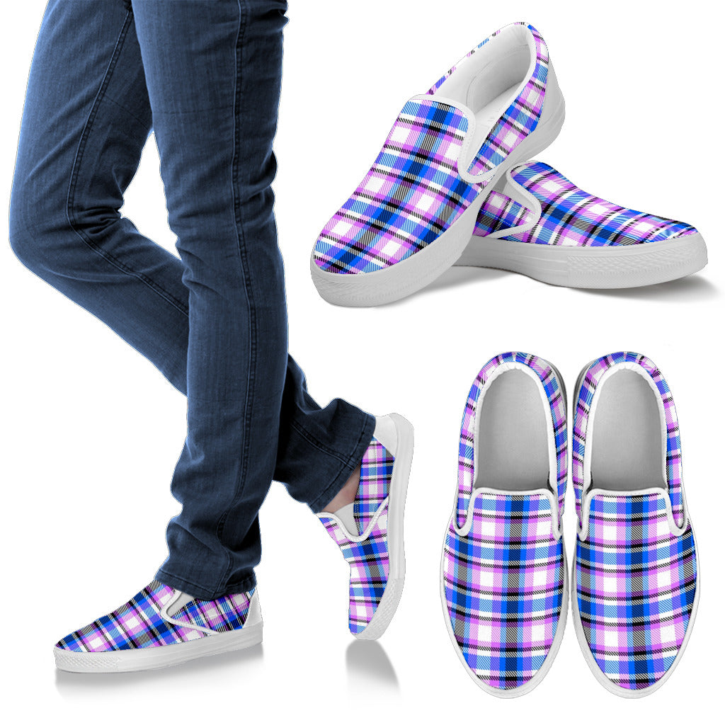 Bubblegum and Blueberry Plaid with Black or White Trim